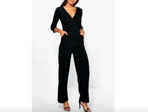 b8f64b3a7f Ladies New Roll Sleeve Wide Leg Relaxed Culotte Jumpsuit In Black ...