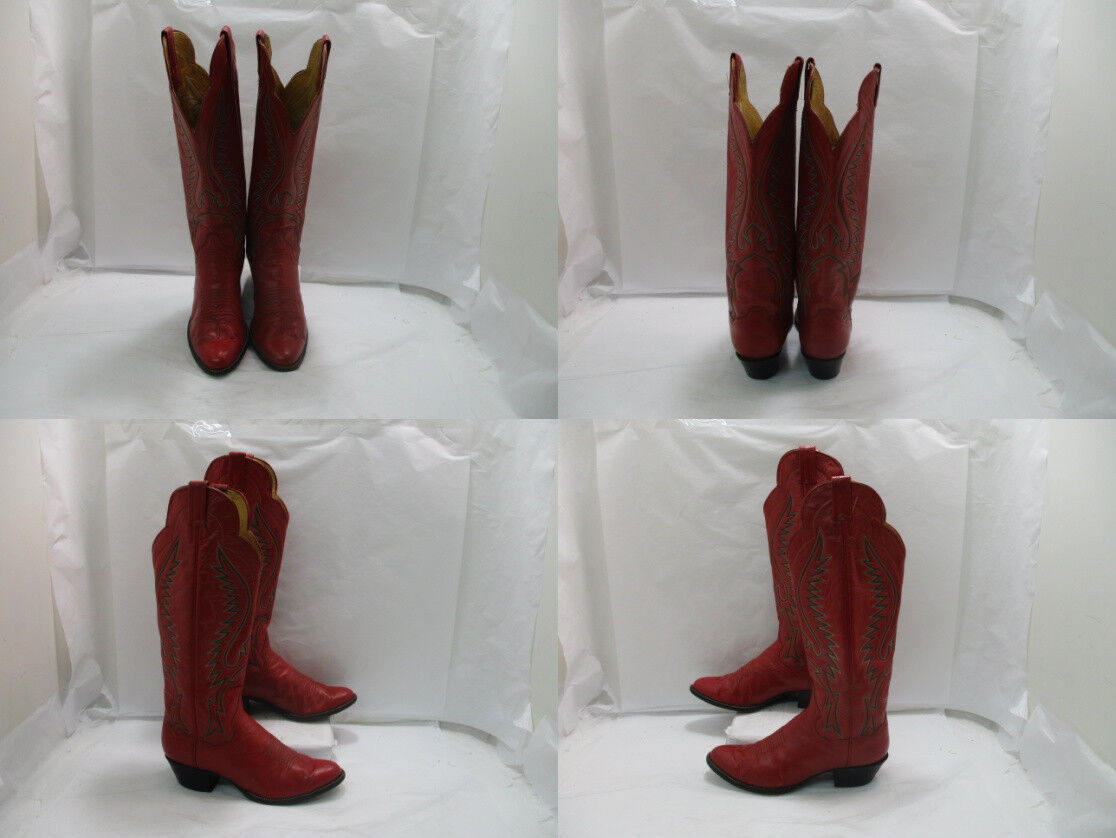 Ladies Red Leather Panhandle Slim Slim Slim Buckaroo Riding Boots Sz  8 N ( 19833 AA) 52b1d3