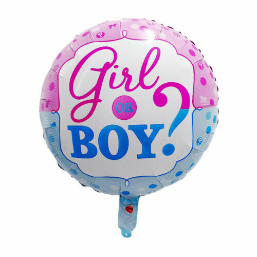 """PARTY DECORATIONS GENDER REVEAL BOY or GIRL 18/""""//45cm ROUND FOIL BALLOON"""