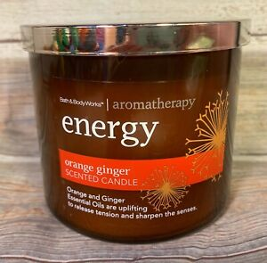 BATH /& BODY WORKS AROMATHERAPY ENERGY ORANGE GINGER 3 WICK SCENTED CANDLE 14.5oz