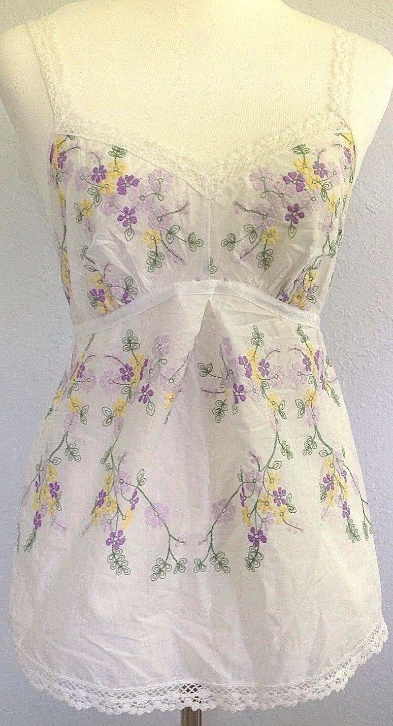 L Lizalde COTTON Lace embroidery cami Tank Tunic Top Dress Blouse Tee Pants USA