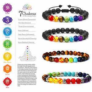 Natural Healing Beads 7 Chakra Crystal Stone Lava Tiger Eye Energy Yoga Bracelet