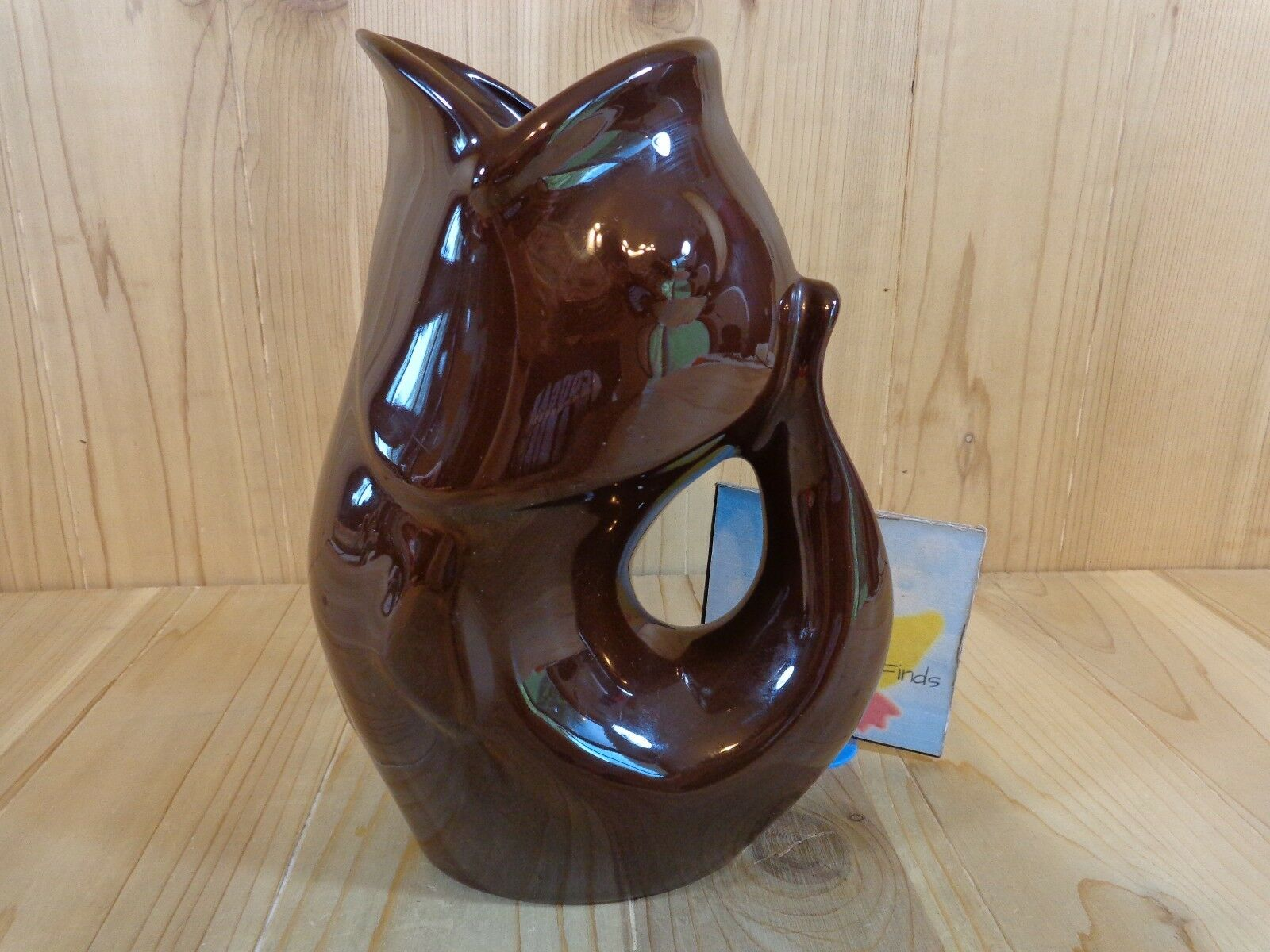 GURGLE POT Fish Shaped Pitcher DARK BROWN Pottery 9.5  Holds 42 oz DW Safe 2006