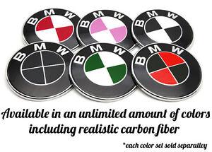 All Black Blackout Bmw Emblem Vinyl Overlay Rims Hood Trunk Steering Wheel Decal Ebay