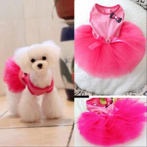 Small-Pet-Dog-Lace-Tutu-Dress-Puppy-Cat-Princess-Skirt-Apparels-Clothes-US