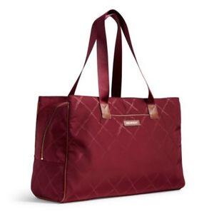 Vera Bradley Preppy Poly Triple Tote Bag Claret