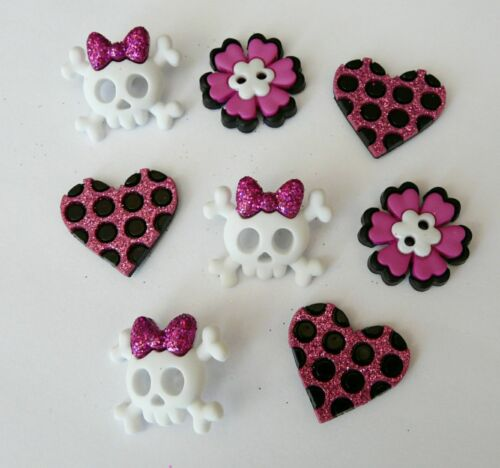 New girl punk crâne coeur novelty dress it up boutons couture cardmaking bouton