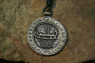 Pendentif amulette Viking pièce de monnaie Boot Runes bronze + BANDE set