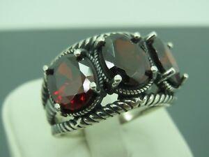 Turkish-Handmade-Jewelry-925-Sterling-Silver-Ruby-Stone-Men-Ring-Sz-9