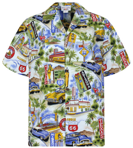 Camicia Hawaii s-4xl Texas Arizona PLA ORIGINALE Hawaiian Shirt Blu chiaro