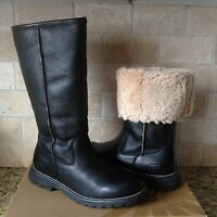 Ugg Brooks Tall Black Water-resistant Leather Shearling Boots Us 12 Womens