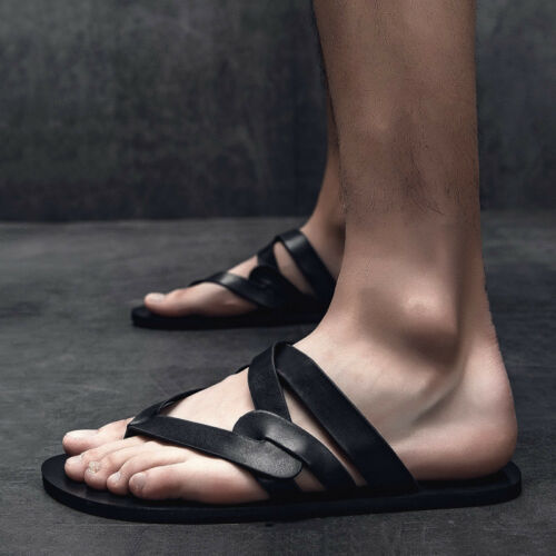 Men/'s Summer Personality Beach Flip-flops Cool Slippers Casual Leather Sandals