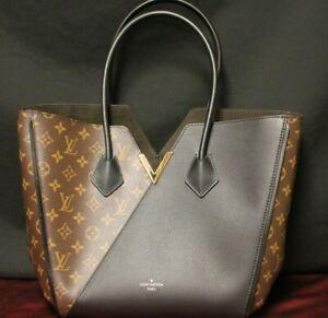 Auth-Louis-Vuitton-Kimono-MM-Black-Leather-Monogram-Canvas-Shoulder-Bag
