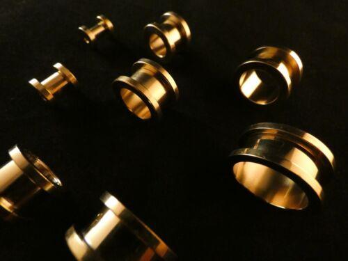 Piercing 24 Karat Gold Tunnel Gewinde Edelstahl Vergoldet Tube Flesh Tunnel Ohr