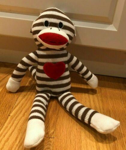 Fun Fun Toys Sock Monkey Striped Red Heart on Chest Brown White Plush Stuffed