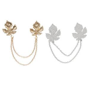 2pcs-Maple-Leaf-Chain-Tassels-Brooch-Lapel-Pin-Neck-Collar-Tip-Mens-Jewelry