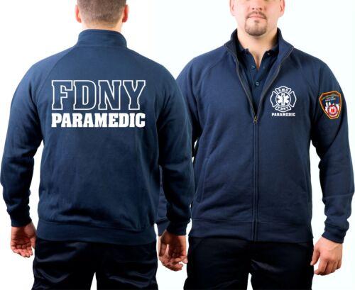 New York City Fire Dept. PARAMEDIC mit Emblem auf Ärme outline Sweatjacke navy