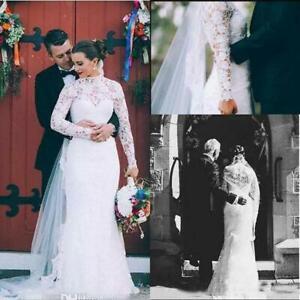 Details about Modest Mermaid Lace Wedding Dresses High Neck Long Sleeve  Plus Size Bridal Gown