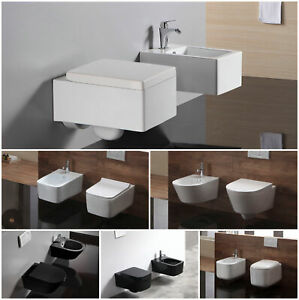 Haenge-Wand-Bidet-WC-Toilette-SoftClose-Sitz-aus-Sanitaerkeramik-leichte-Montage