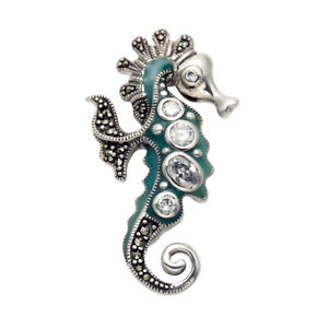 Seahorse Lapel Pin or Seahorse Brooch Sterling Silver