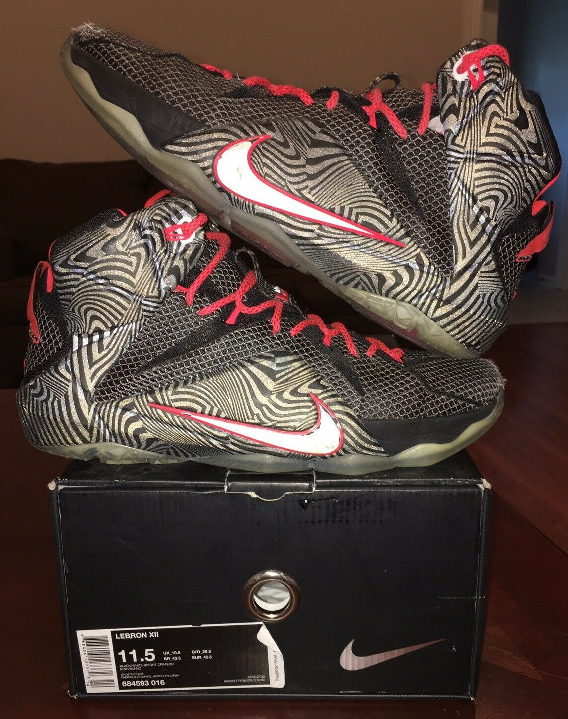 Nike Lebron 12 Soldier Red Black 23 Air Zoom Heat 8 9 10 11 13 Lot Jordan 14 4 1