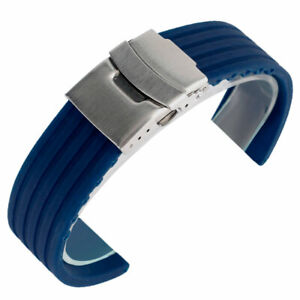Blue-Orange-Watch-Strap-Band-20-22-24MM-Replacement-Silicone-Folding-Clasp