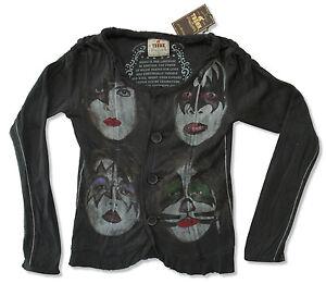 KISS-trunk-Ltd-TESTE-Dark-Grey-Button-Down-L-S-T-SHIRT-DI-MARCA-NUOVA-Nuovo-con-etichette-Band