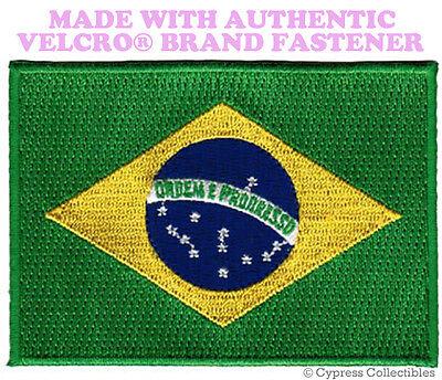 BRAZIL FLAG PATCH BRAZILIAN BRASIL EMBROIDERED EMBLEM w// VELCRO® Brand Fastener