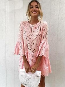 size 40 c4610 dfe37 Dettagli su Elegante vestito abito rosa pizzo maniche bohemien ginocchio  morbido 5104