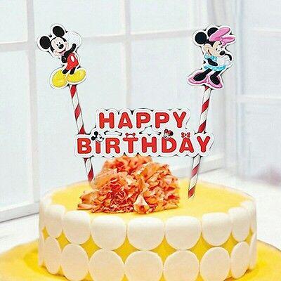 Admirable Minnie And Mickey Birthday Cake Banner Topper Flag Decoration Funny Birthday Cards Online Elaedamsfinfo