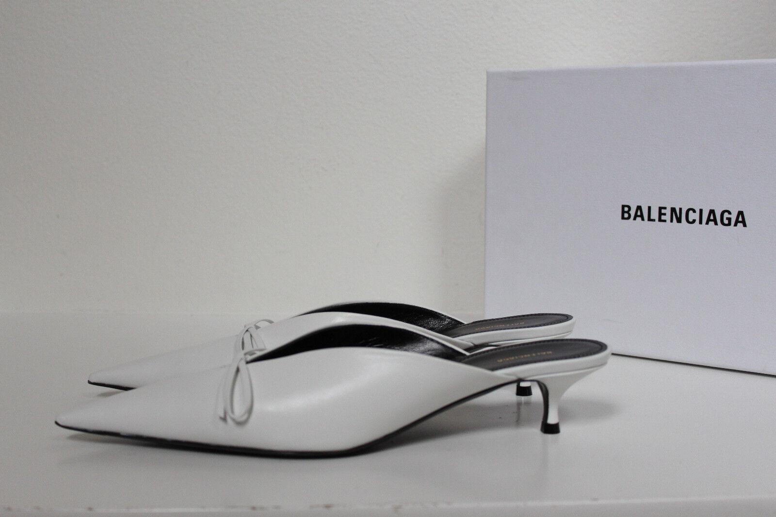 New sz 9   39.5 Balenciaga Weiß Leather Bow Pointed Toe Mule Pump schuhe