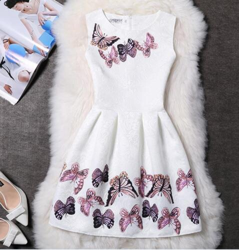 Women Butterfly Printed Bodycon Sleeveless Evening Party Cocktail A-Line Dress