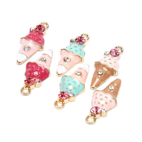 10Pcs Enamel Alloy Cute Ice Cream Charms Pendant Craft DIY Jewelry Making GODUS