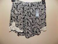 Women's Boom Boom Jeans Shorts Size L Black/white Paisley Lace