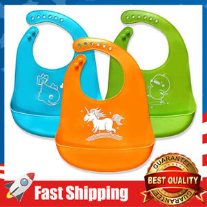 3 Colors Baby Bibs,Silicone Bibs for Newborns Infant Toddlers,Soft,Easily Wipes