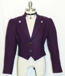 PURPLE-LAVENDER-WOOL-Women-Austria-SHORT-Fitted-Dress-Suit-Coat-JACKET-38-8-S