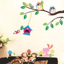 Owl Wall Stickers Animal Jungle Zoo Tree Nursery Baby Bedroom Decor Decal Art