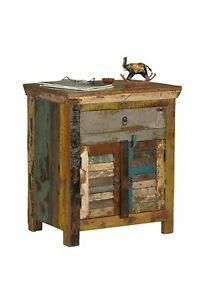 Reclaimed-Wood-Bedside-Cabinet-Storage-Antique-Vintage-Home-Office-Furniture