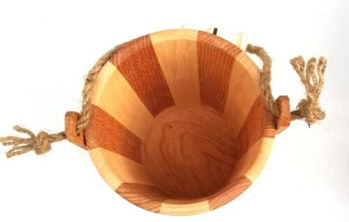 Wooden Planter Bucket with rope handle Pot For Garden Patio Flower pot 1L volume