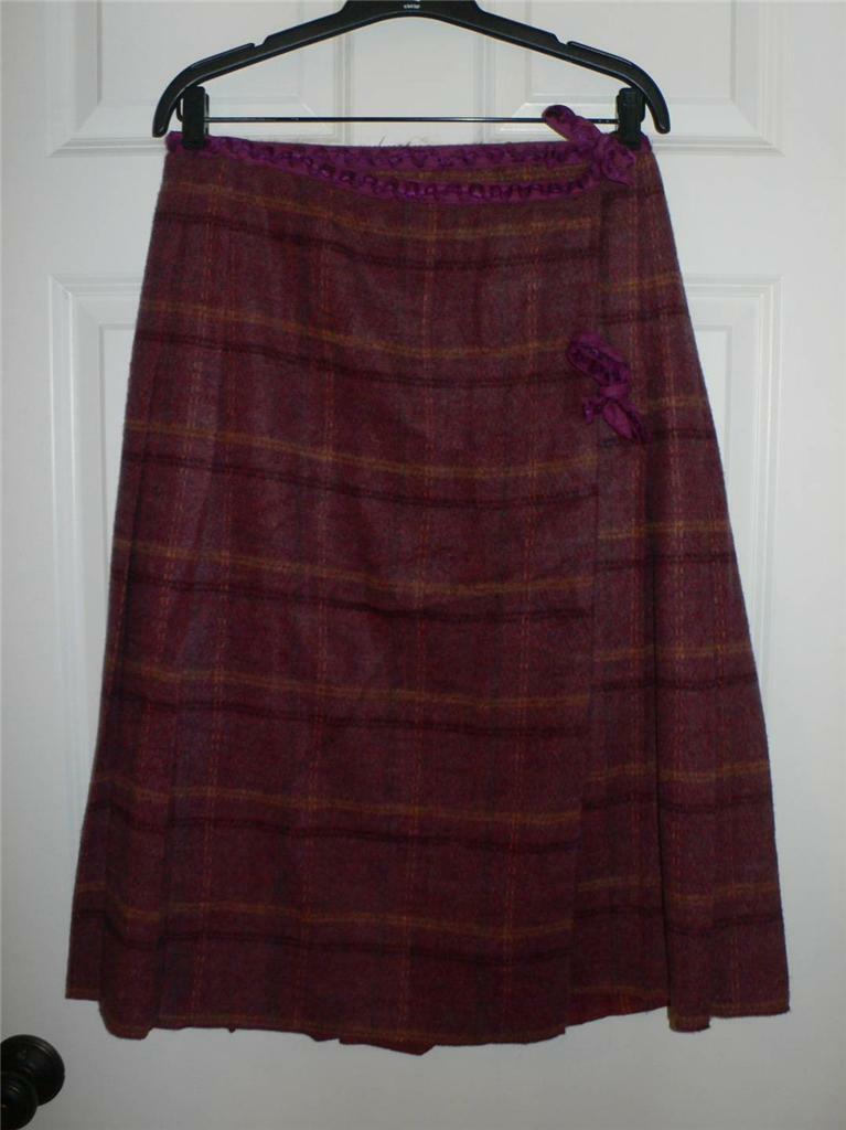 Anna Sui lila Plaid Wool Wrap Skirt  266 NWT 10