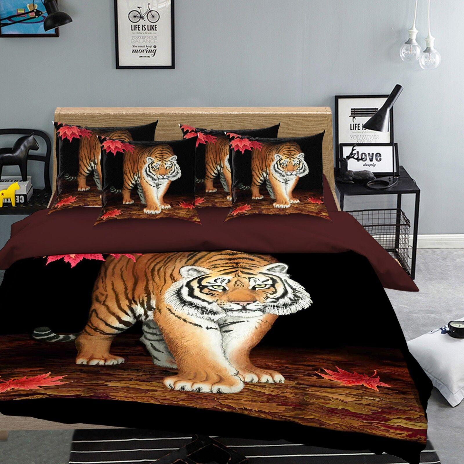 3D Grass Tiger 686 Bed Pillowcases Quilt Duvet Cover Set Single Queen AU Carly