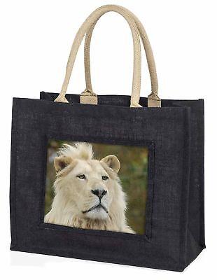 Weißer Löwe große schwarze Einkaufstasche Weihnachten Geschenkidee, at-46blb