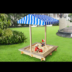 Image is loading Wooden-Backyard-Sandbox-for-Kids-Children-Outdoor-Sandpit- : sandbox canopy - memphite.com
