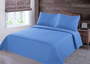 MIDWEST-LIGHT-BLUE-NENA-SOLID-QUILT-BEDDING-BEDSPREAD-COVERLET-PILLOW-CASES-SET