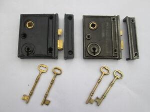 CAST IRON OLD VINTAGE STYLE BATHROOM BEDROOM RIM DOOR LOCK ...