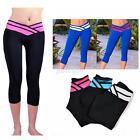Hot Women Sport Athletic Gym Workout Fitness Yoga Waistband Capri Leggings Pants