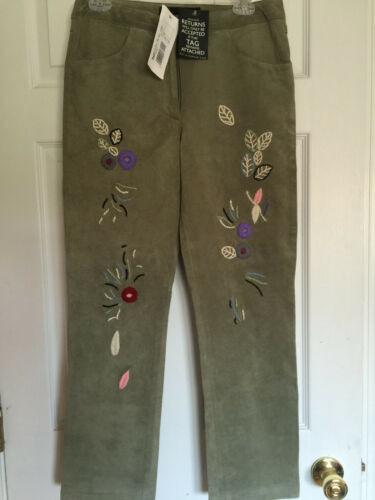 à broderies Dolce en Gabbana Nwt D vert Pantalon daim g florales w7Tw60q