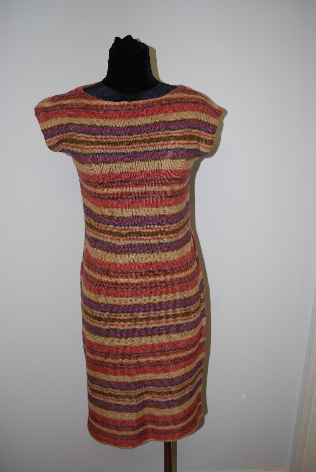 New Ralph Lauren Linen Silk Tan Multi Stripe Sweater Dress Fall colors Sz SMALL