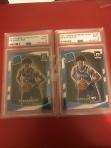 (2)2017-18 Panini Donruss Optic DE'AARON FOX PSA 9 MINT Rookie Card RC #196 📈🔥