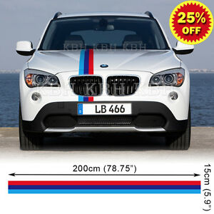 M Performance  Colors Hood Stripe Decal Sticker For BMW X X E - Personalised car bmw x3 decals